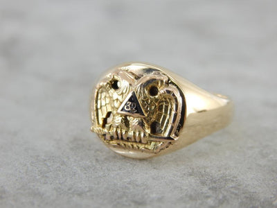 Antique Double Eagle Masonic Ring with 32 Mark