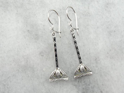 Beautiful Diamond Drop Earrings with Black Enamel Accents