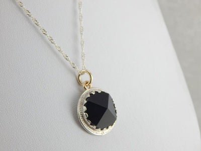 Black Onyx Pendant in Silver and Gold