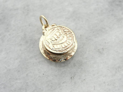 Birthday Cake Charm in Yellow Gold, Pretty Vintage Piece