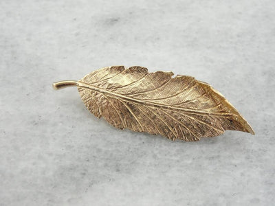 Naturalistic Leaf or Feather Brooch in Gold