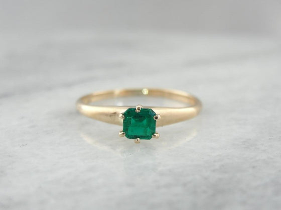 Bright, Clean, Deep Green Solitaire Emerald Ring