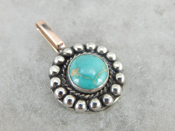 Round Turquoise Silver and Gold Pendant