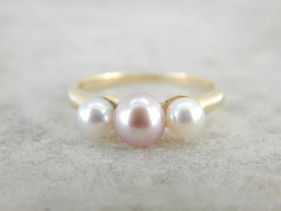 Rose Pink and Creamy White Pearl Three Gem Ring