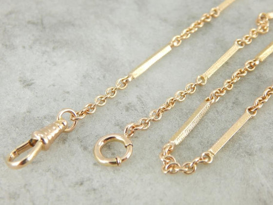 Vintage 10K Yellow Gold Pocket Watch Chain