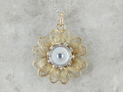 Mother of Pearl Floral Quilled Filigree Pendant