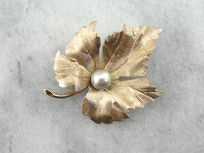 Gold Grape Leaf Brooch with Pearl Center