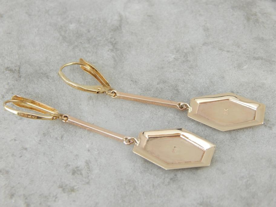 Long Drop Earrings with Antique Elements in Yellow Gold