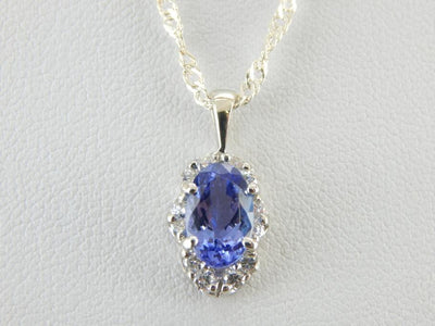 Tanzanite and Diamond Pendant with Retro Era Style