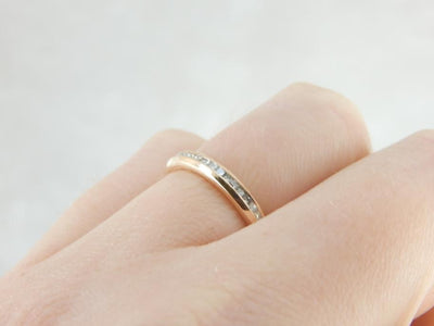 Channel Set Rosy Yellow Gold Diamond Band