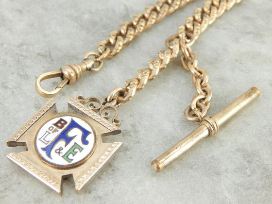 Brotherhood of Locomotive Antique Fraternal Pocket Watch Chain