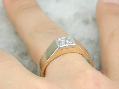 Mens Minimalist Ring with Square Cut Diamond, German Gold