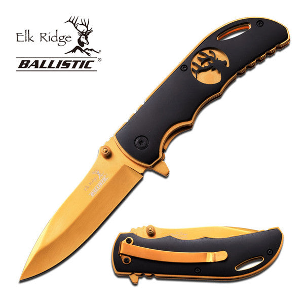 Ballistic Series Spring Assisted Outdoors Knife - Gold Finish (Elk Ridge)