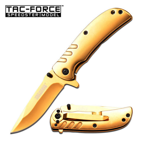 Titanium Coated Spring Assist Knife Speedster Model Gold (TAC-Force)