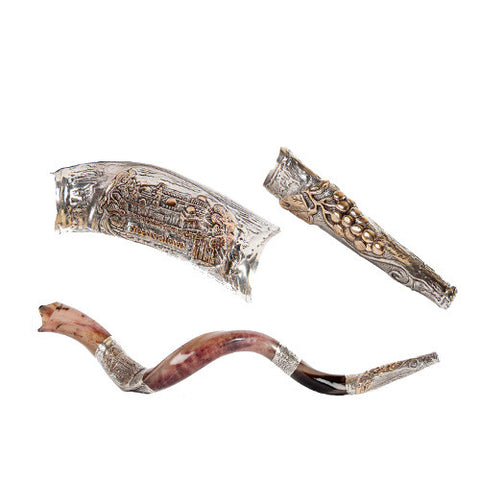 Silver Plated Yemenite Kudu Shofar - Temple Mount & Cluster of Grapes