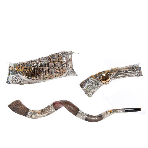 Silver Plated Yemenite Kudu Shofar - City of Jerusalem