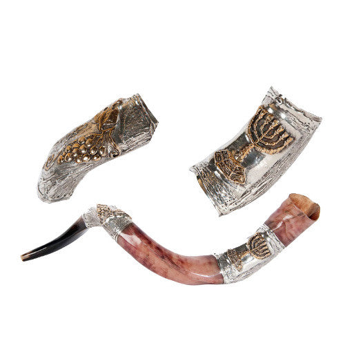 Silver Plated Yemenite Kudu Shofar -Menorah & Cluster of Grapes
