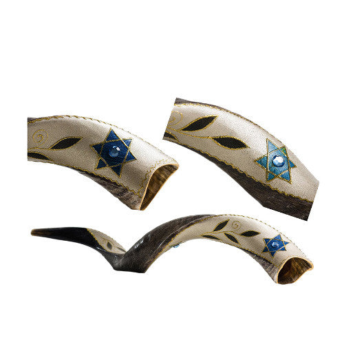 Painted Kudu (Yemenite) Shofar Star of David