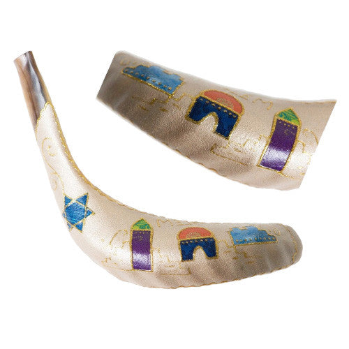 Painted Ram Shofar - Jerusalem w Star of David