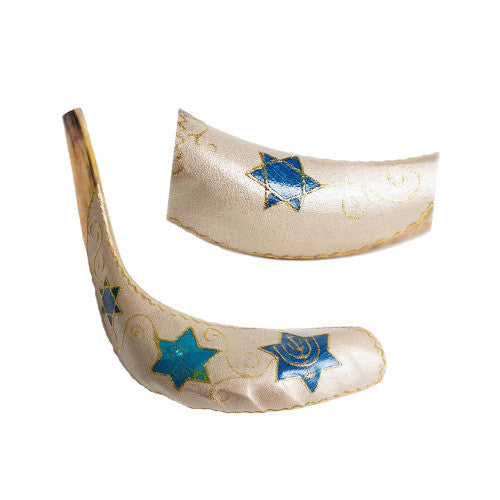 Painted Ram Shofar - Star of David
