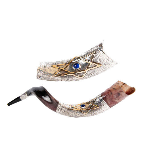 Silver Plated Yemenite Kudu Shofar -Star of David w Blue Stone