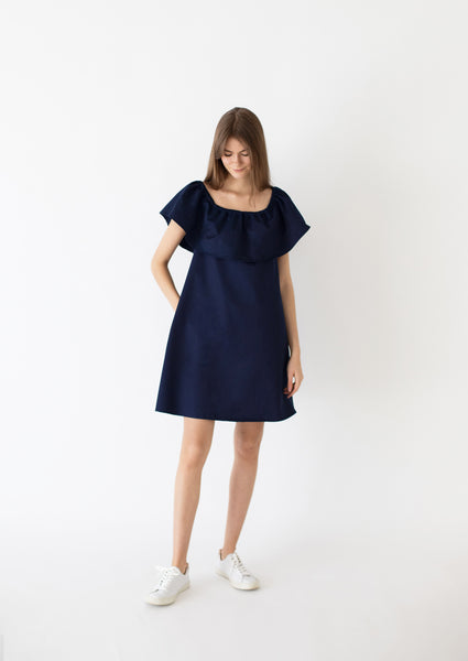 PROTO: Cotton-Tencel ruffle dress, size S