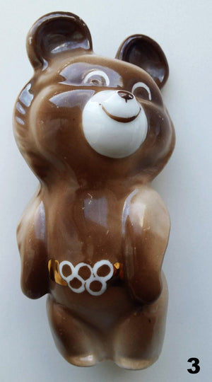 Vintage USSR 1980 Moscow Olympics Porcelain Bear Mascot - Soviet Visuals