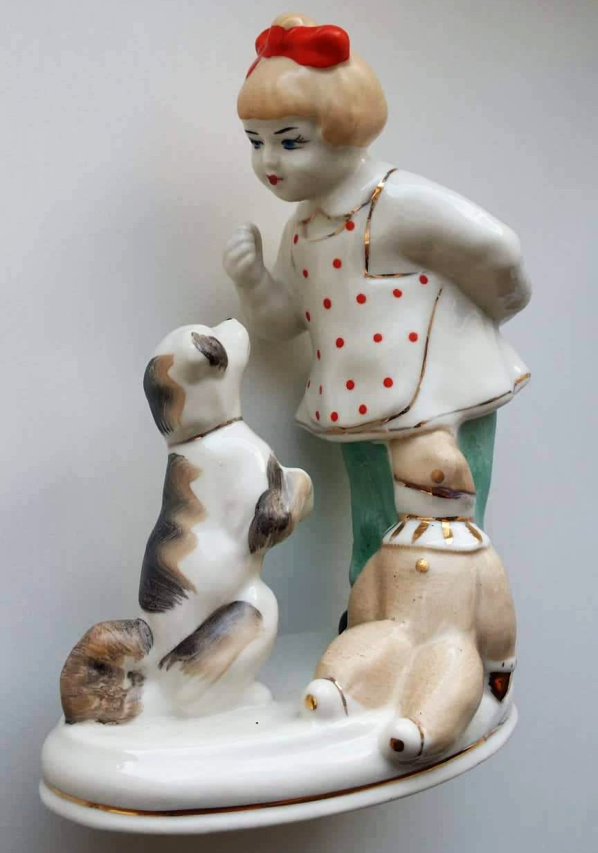 Vintage USSR Girl With Dog Porcelain Figurine - Soviet Visuals
