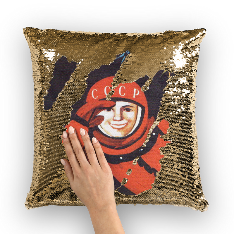 Cosmonaut Sequin Cushion - Soviet Visuals