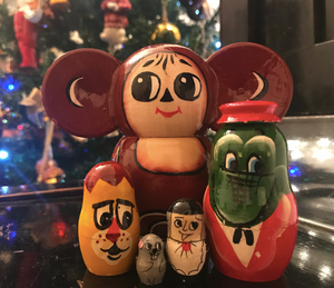 Cheburashka & Friends Hand-Painted Nesting Doll - Soviet Visuals