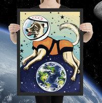 Laika CCCP Space Dog Framed Print - Soviet Visuals
