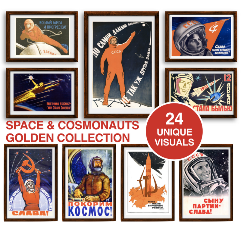 Space & Cosmonauts Poster Set - Soviet Visuals
