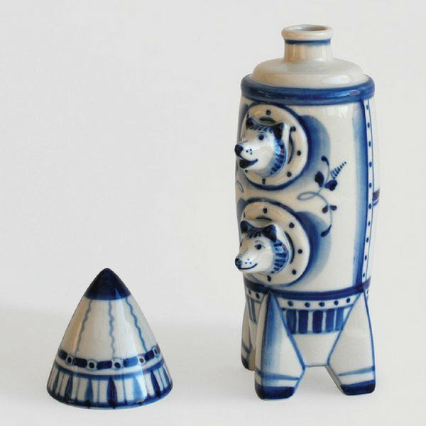 Handmade Porcelain Belka & Strelka Spaceship Decanter