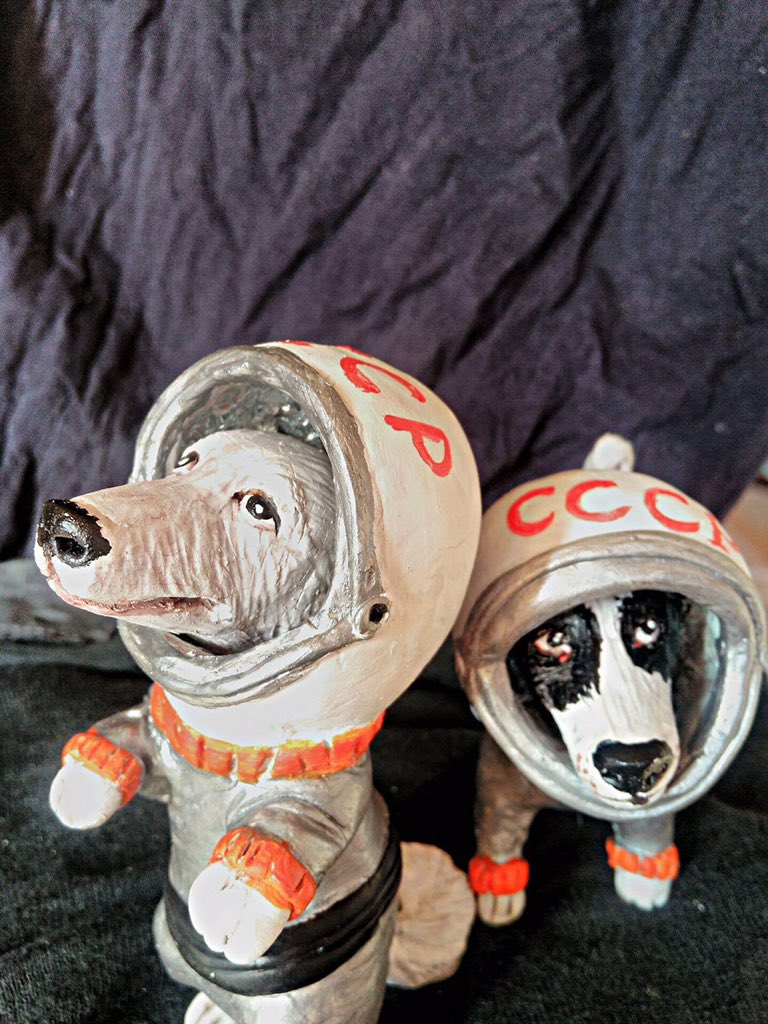 Space Dog Duo Sculpture Set II - Soviet Visuals
