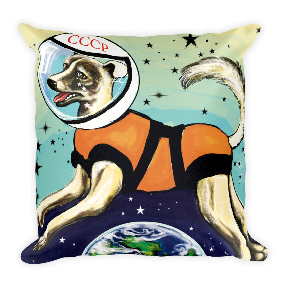 Laika CCCP Space Dog Art Pillow - Soviet Visuals