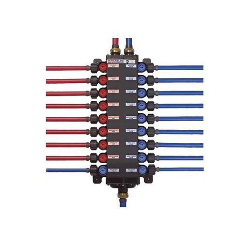 "Viega 50250 1/2"" PureFlow Zero Lead Poly Alloy PEX Crimp Manabloc With 18 Ports - 10 Cold 8 Hot - NYDIRECT"