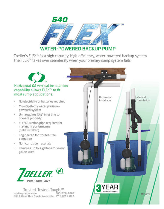 Zoeller 540 FLEX™ 540-0005 Water-powered Emergency backup sump pump system - NYDIRECT