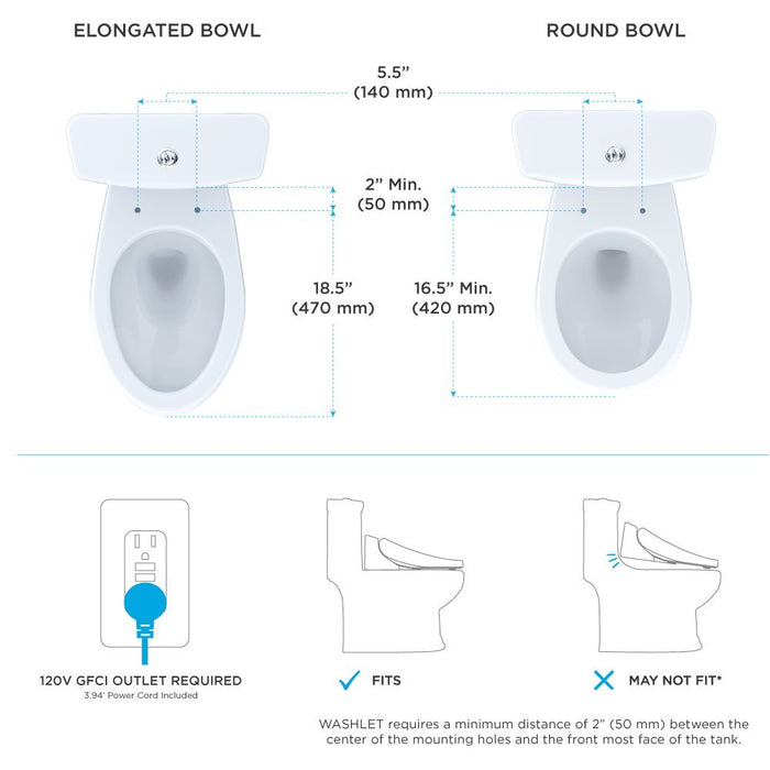 TOTO S550E SW3046 WASHLET® Elongated Bidet Toilet Seat with EWATER+ With Contemporary Lid - NYDIRECT