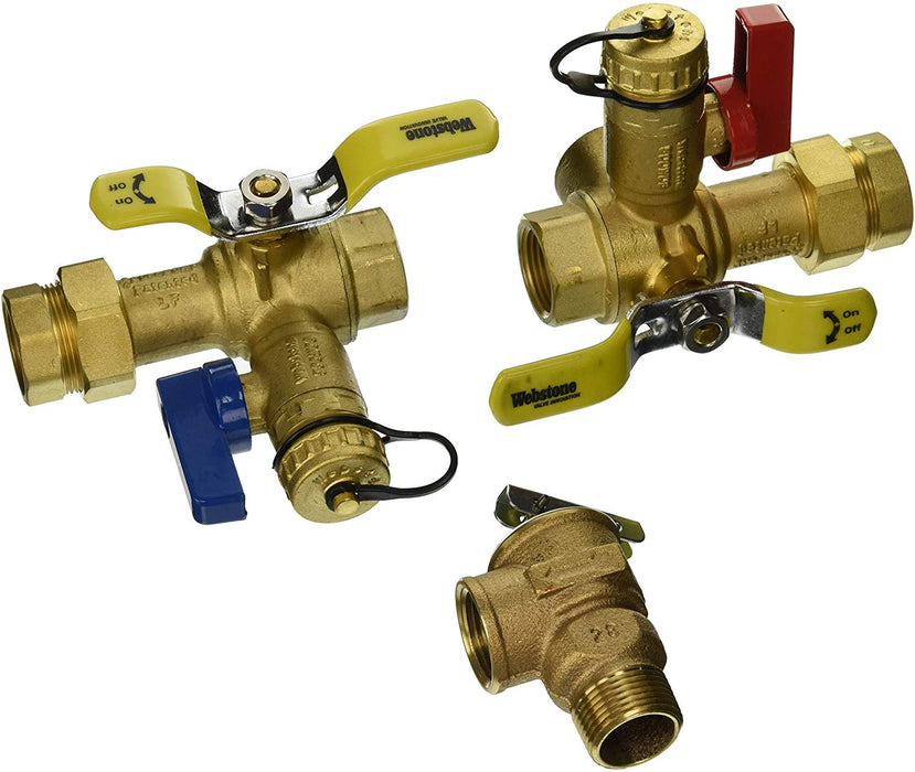 Webstone 44443WPR 3/4-Inch IPS Isolator EXP E2 Tankless Water Heater Service Valve Kit with Clean Brass Construction - NYDIRECT