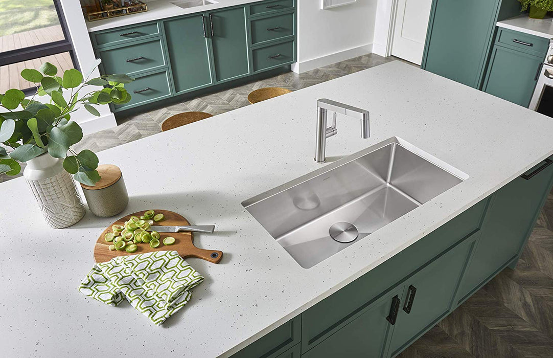 BLANCO 519548 QUATRUS R15 UNDERMOUNT SINGLE BOWL STAINLESS STEEL KITCHEN SINK - NYDIRECT