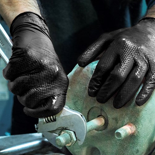 AMMEX® Gloveworks® HD Black Nitrile Powder Free Industrial Gloves - NYDIRECT