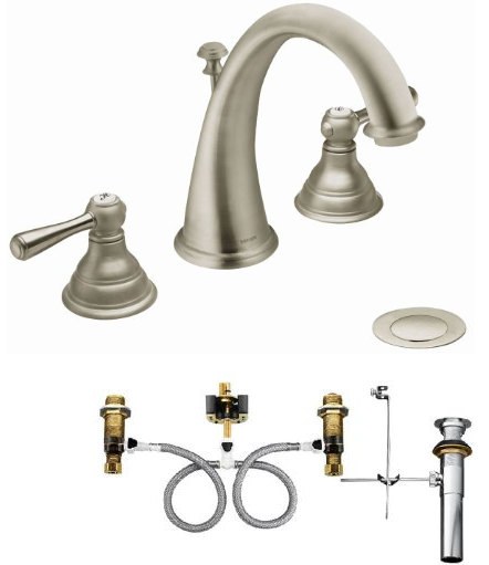 Moen T6125-9000 Kingsley Widespread Bathroom Faucet with Valve - NYDIRECT