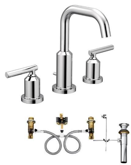 Moen T6142-9000 Gibson Widespread Bathroom Faucet with Valve - NYDIRECT