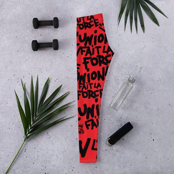 'L'Union Fait La Force' Leggings (Red)