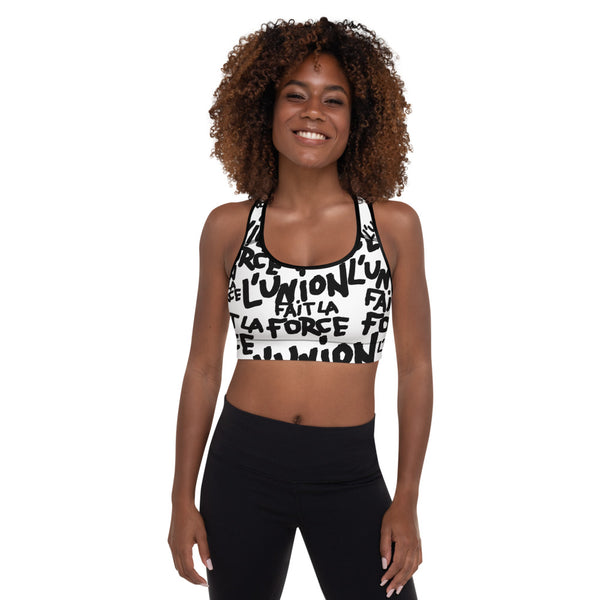 'L'Union Fait La Force' Padded Sports Bra