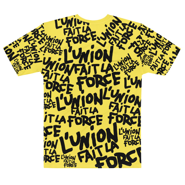 'L'Union Fait La Force' All-Over Unisex Tee (Yellow)