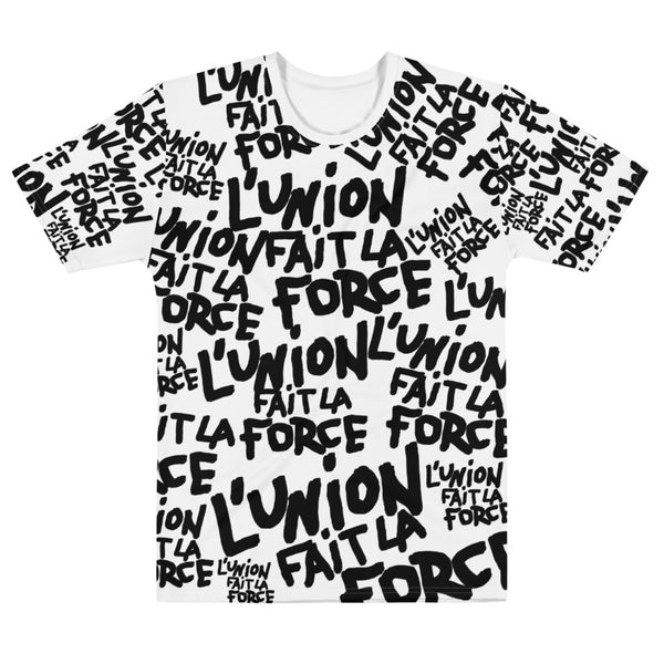 'L'Union Fait La Force' All-Over Unisex Tee (White)
