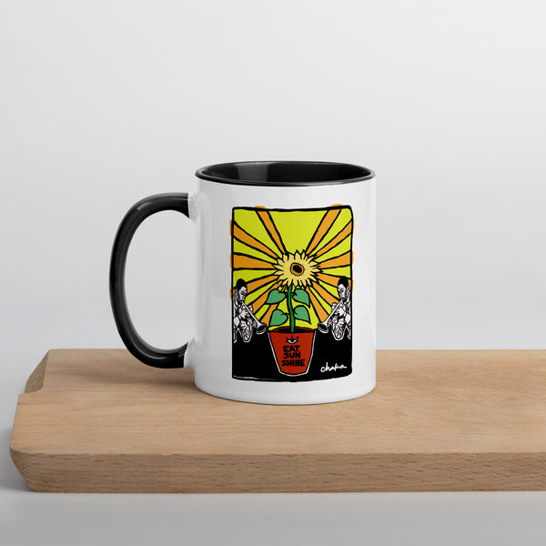 'Eye Eat Sunshine' Mug with Color Inside (Black or Yellow)