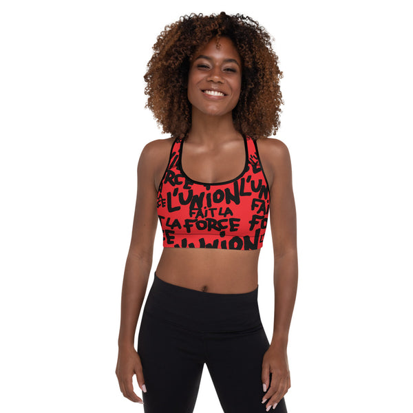'L'Union Fait La Force' Padded Sports Bra (Red)