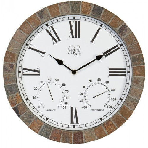 "River City Clocks 15"" Indoor/Outdoor Tile Clock With Time, Temperature, And Humidity - Fine Design Trading Company"